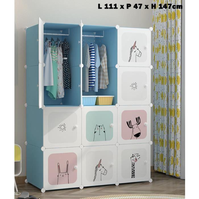 Armoire Penderie Bleu Meuble Rangement Enfant Avec Motifs D Animaux 12 Cubes Achat Vente Armoire 2008515695177 Cdiscount
