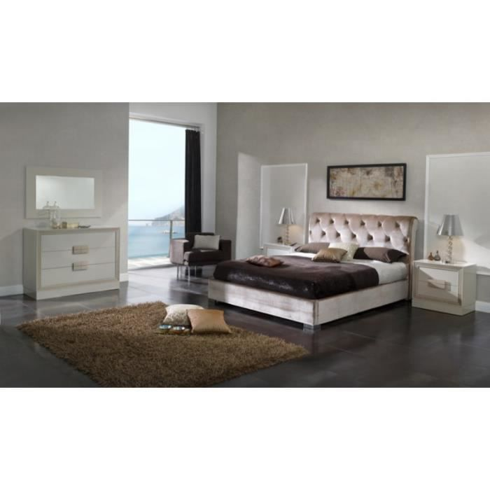 lit rosy 180x200cm en velours beige capitonn l 200 x l. Black Bedroom Furniture Sets. Home Design Ideas