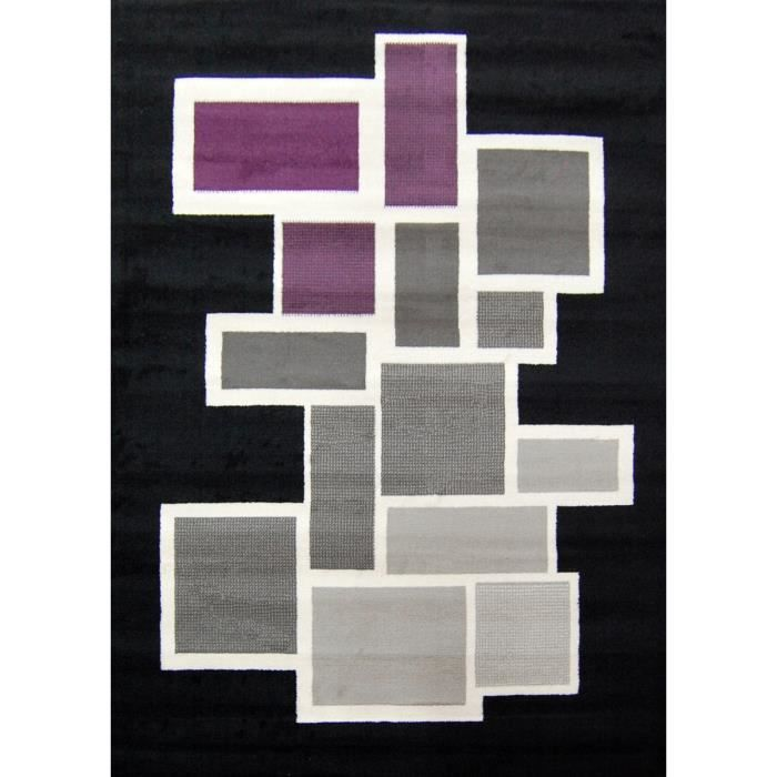 tapis paris salon noir mauve gris 120x160 cm achat vente tapis cdiscount. Black Bedroom Furniture Sets. Home Design Ideas