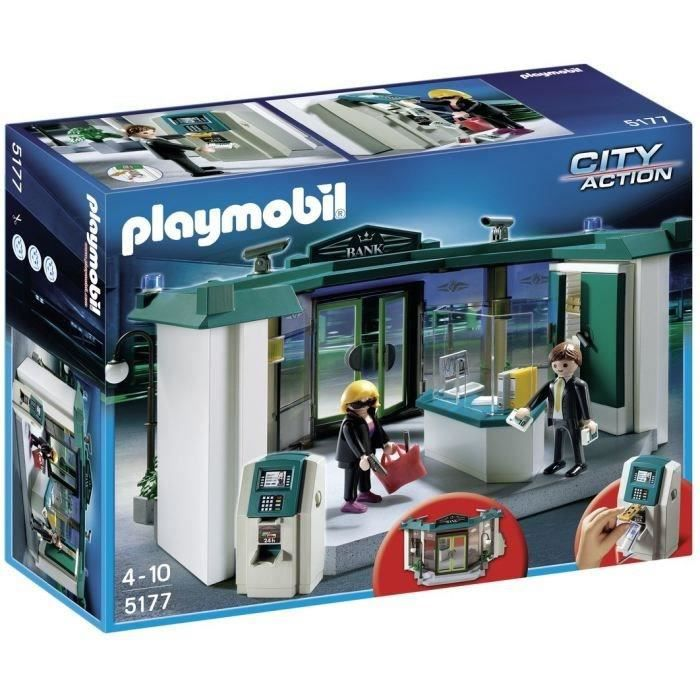playmobil 5177 banque avec distributeur de billets achat vente univers miniature cdiscount. Black Bedroom Furniture Sets. Home Design Ideas