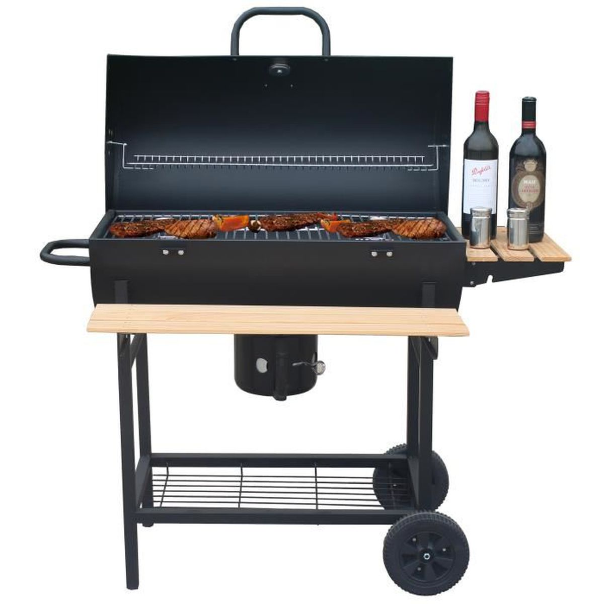 BARBECUE Barbecue à charbon 70x35cm avec chariot - Robby -
