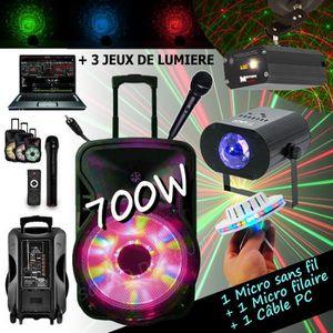 PACK SONO ENCEINTE SONO 700W PORTABLE + USB MP3 + SD + BLUET