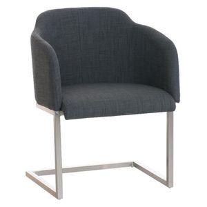 CHAISE Chaise visiteur en acier inoxydable -tissu coloris