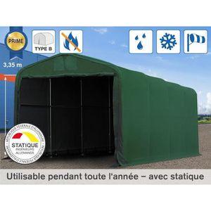 CARPORT 4x8m hangar, porte 3,5x3,5m, toile PVC de 720 g/m²