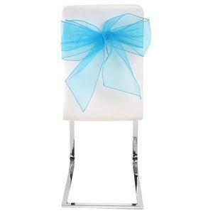 HOUSSE DE CHAISE Noeud de chaise organdi bleu turquoise (x4) REF/51