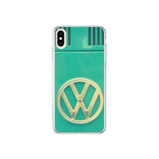 coque iphone xs max groovy van hippie vw bleu r
