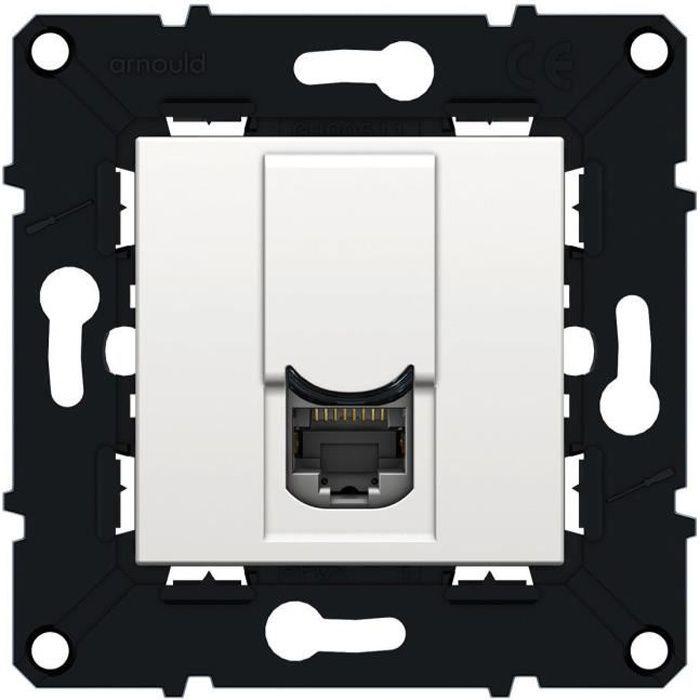 ARNOULD Espace évolution Prise RJ45 multimédia Cat6 ftp avec enjoliveur blanc à assembler