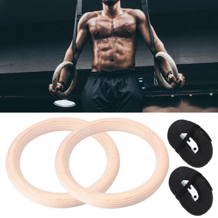 1 paire d'anneaux de gymnastique professionnels en bois Gym Fitness musculation avec sangles en polyester-1YUN