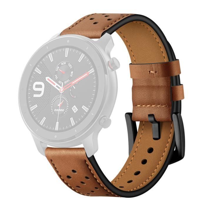 bracelet de montre vendu seul Bracelet de montre de remplacement en cuir pour montre intelligente AMAZFIT GTR 47MM ZCQ90812104BW_wat