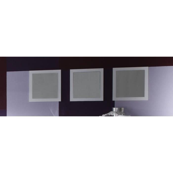 Miroir mural blanc laqué design ESMERALDA (lot de 3) L 51 x P 2 x H 51 cm Blanc