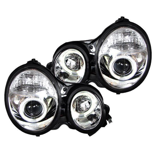 phares design, chrome, pour reglage electrique, anneaux... 95-99 pour: Mercedes E-Classe.(W210) 95-02