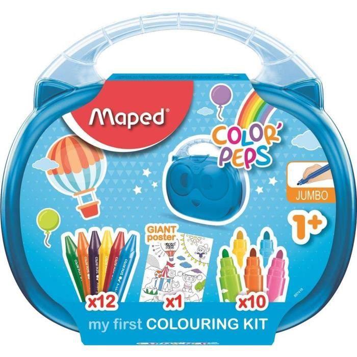 Maped Color'Peps Malette de Coloriage pour Bébé et Enfant dès 1 an – Kit Premier âge avec 10 Feutres Jumbo + 12 Craies de Cire Jumbo