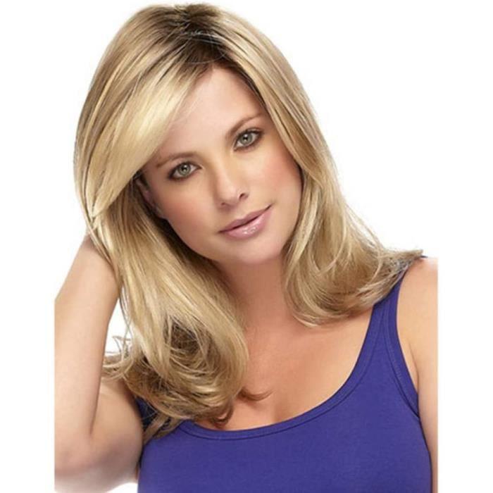 PERRUQUE perruque Perruque femme blonde claire cheveux longs boucleacutes grosse vague perruque de fibre chimique ensemble de ch2617