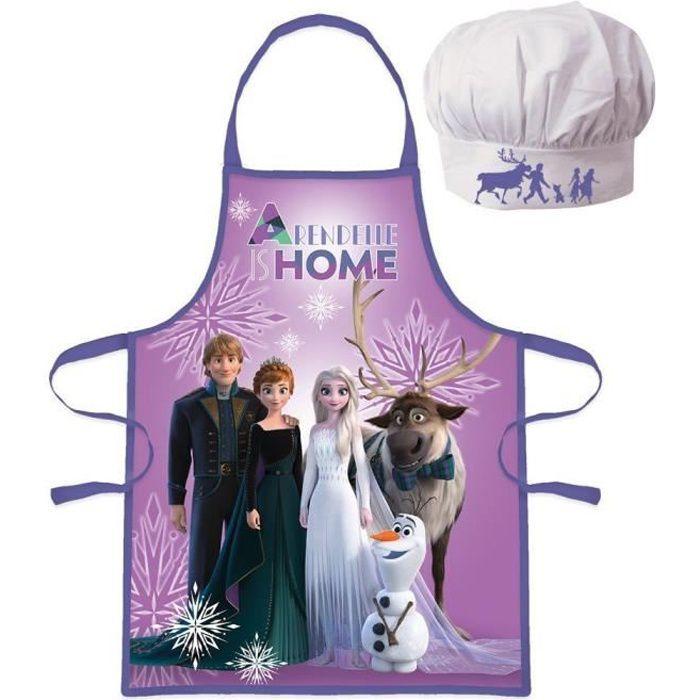 Ensemble Tablier + Toque cuisine -La reine des neiges- pour enfant
