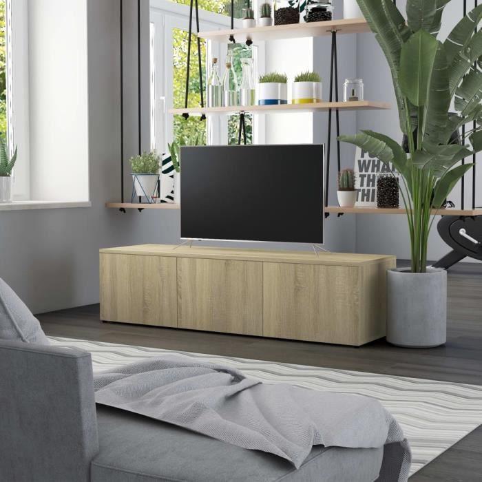 Meuble TV Chêne sonoma 120x34x30 cm Aggloméré -PAI