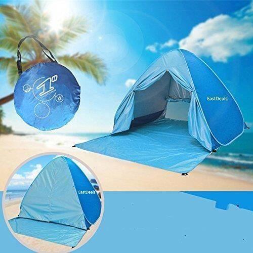 Tente de Plage avec fermeture à glissière, 2 ou 3 Personne Pop-up Automatique Abris de Plage Anti UV50+, pour Extérieure Camping Pla