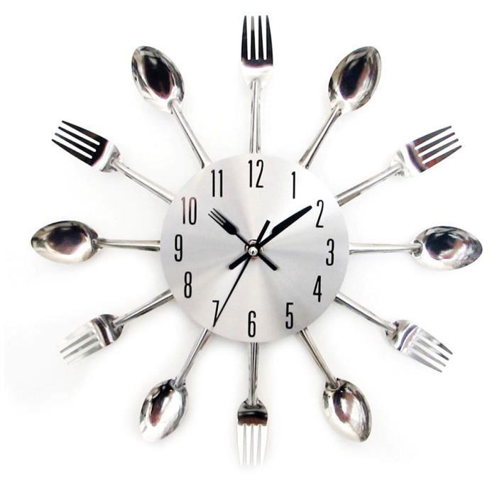 Horloge,Unique grand argent cuisine vaisselle salon moderne cuillère horloge murale décoration couverts métal silencieux 3D élégant