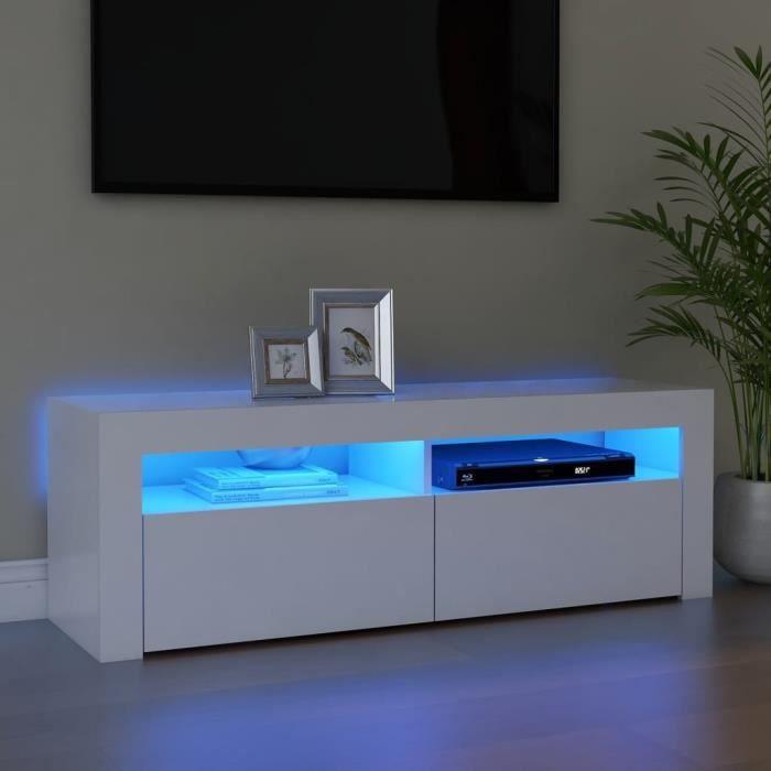 Liya Meuble TV avec lumières éclairage LED Blanc 120x35x40 cm