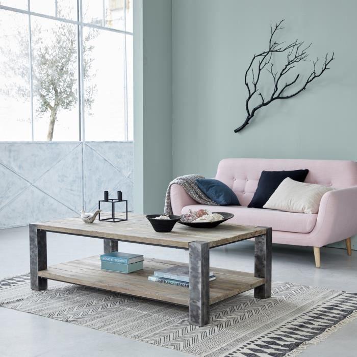Table basse en bois de pin recyclé et métal double plateau BDBD