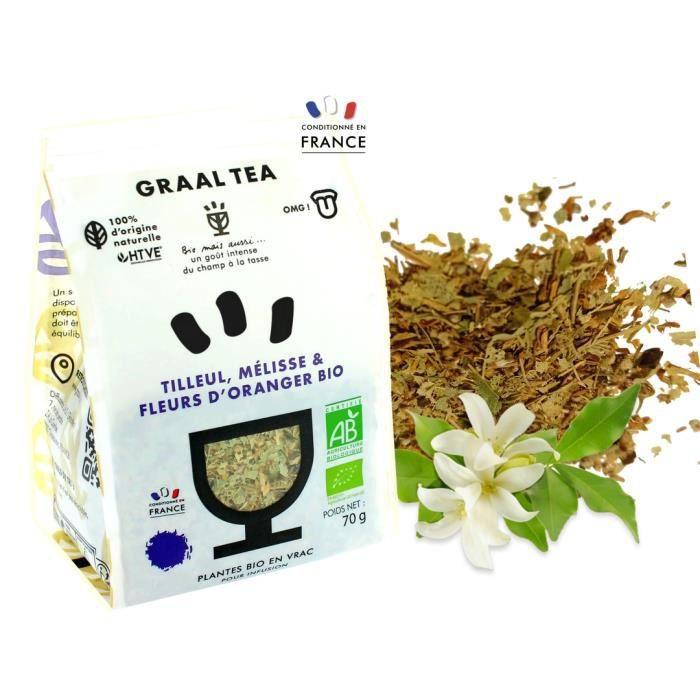 GRAALTEA - Infusion Dégustation - Tilleul Mélisse & Fleurs d'Oranger BIO en Vrac - 100% d'Origine Naturelle - Made in France - 1 Paq