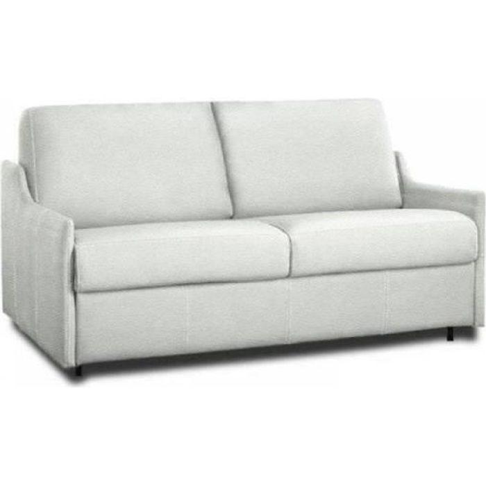 Canapé lit 2-3 places LUNA convertible EXPRESS 120cm polyuréthane blanc cassé matelas 16 cm blanc Cuir Inside75
