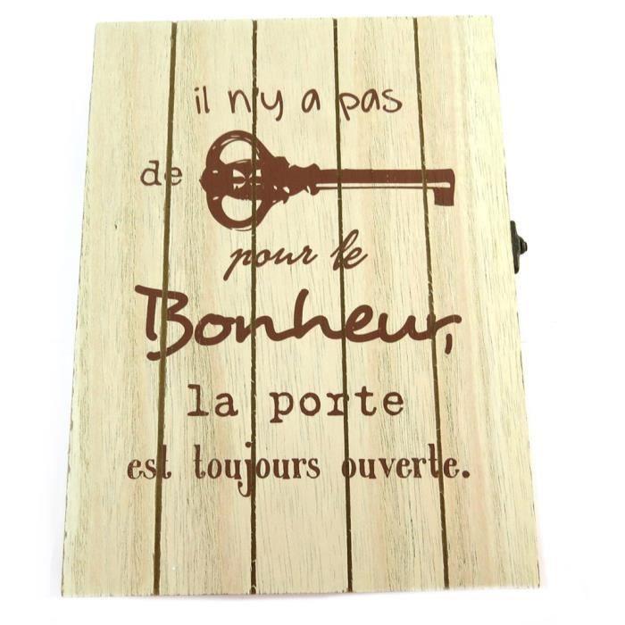 Boite à clés bois 'Message' (Il n'y a pas de clé pour le Bonheur, la porte est toujours ouverte)(6 crochets) - 24x17.5x4.... [P8817]