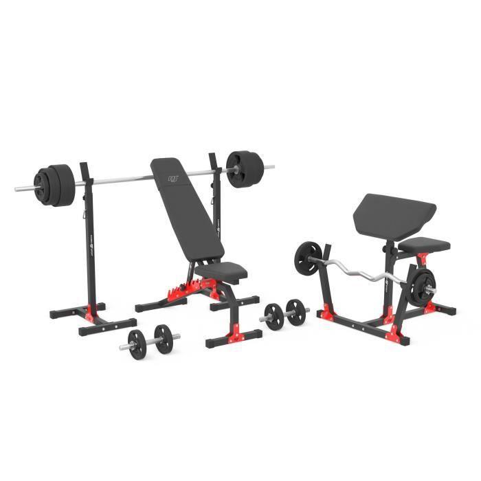 Marbo Sport MH9 151KG KIER 2.0 - Banc de musculation + support x2 + banc Scott + barres de poids / plaques de poids set de mélan...