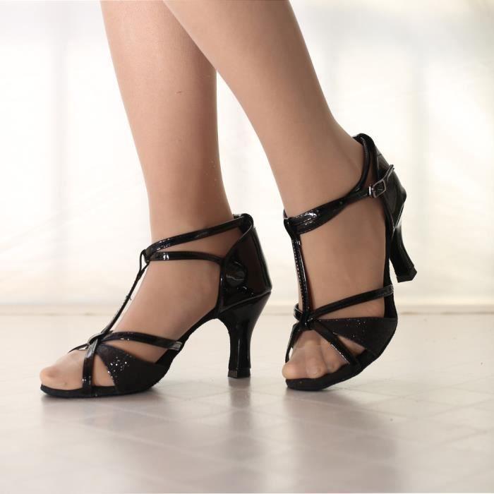 Mode féminine Waltz danse moderne chaussures de bal de danse latine Sandales de fond mou Noir