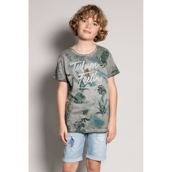 DEELUXE T-shirt à motif tropical JOSHUA Grey