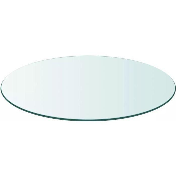 Dessus de table-Plateaux de table ronde en verre trempé 600 mm