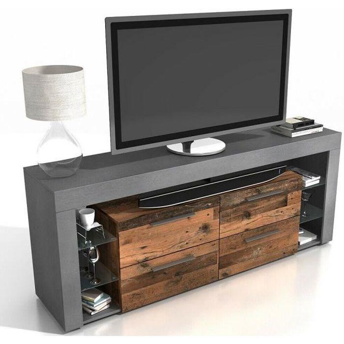 Meuble TV en MDF coloris Matera - old style foncé - 180 x 73 x 42 cm