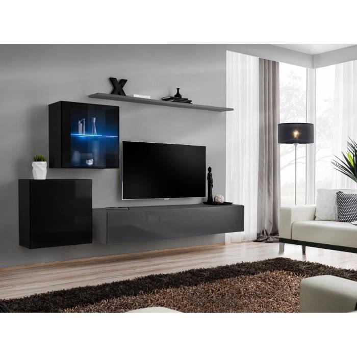 Ensemble meuble salon mural SWITCH XV design, coloris gris et noir brillant. 40 Gris