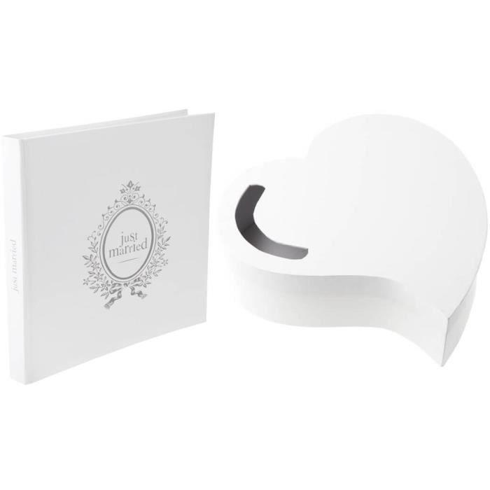 1 Pack tirelire blanche mariage coeur et livre d'or Just Married R/3841-3845