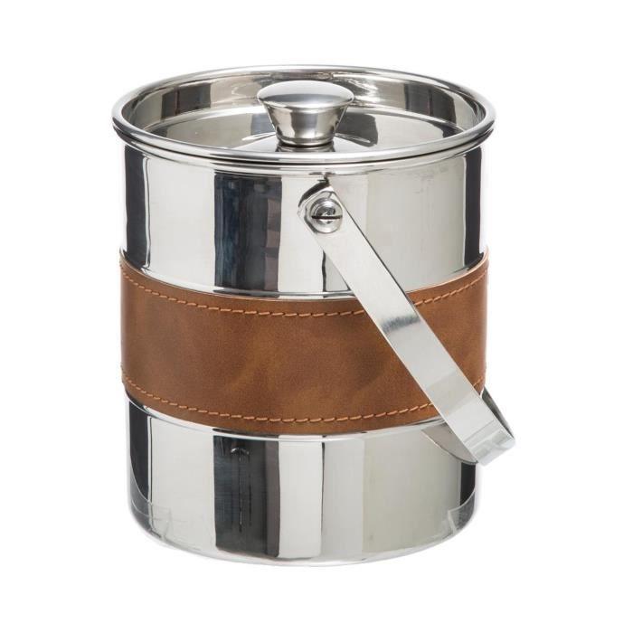 Secret de Gourmet - Seau à Glace en Inox rafraichisseur de bouteille déco Cuir Inox/cuir
