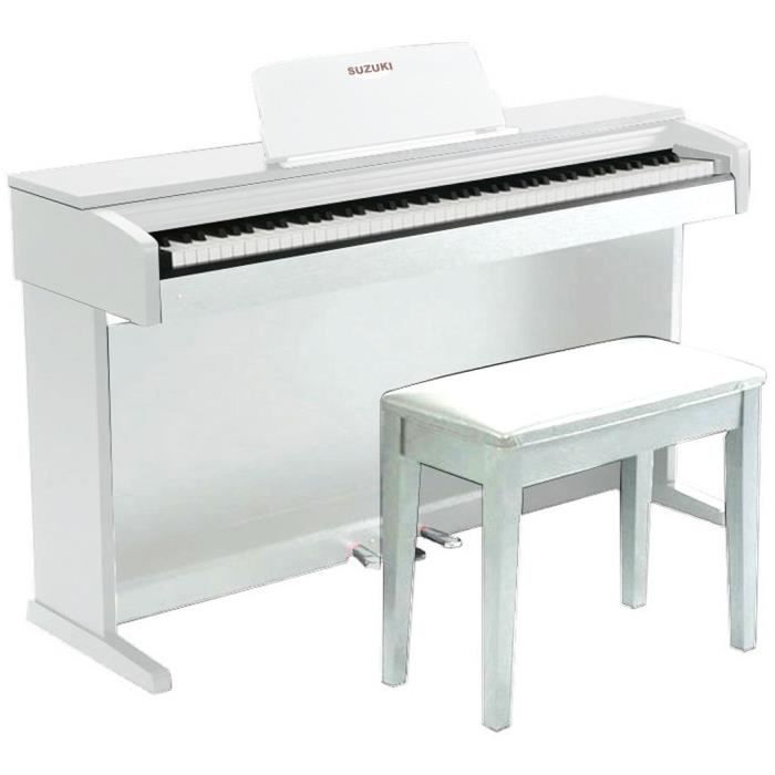 SUZUKI Piano meuble 88 touches Blanc mat (touché lourd)