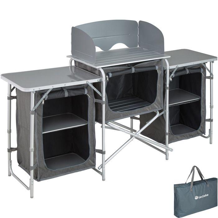 TECTAKE Cuisine d'Extérieur, Cuisine de Camping Pliante, Meuble Camping de Rangement 164,5 cm x 52 cm x 104 cm