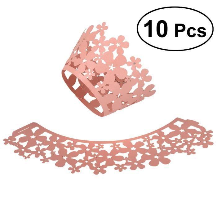 10 pcs évider non toxique chatoyant Mousse Cupcake Muffin ornement décor Wrapper rose sculpture Wrappers MULTICUISEUR ELECTRIQUE