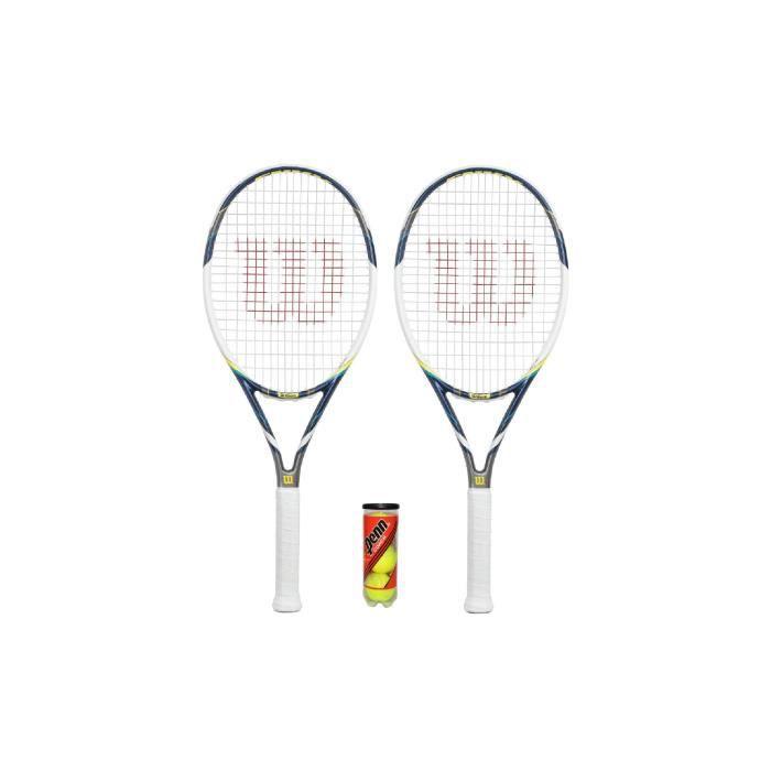 Wilson Lot de 2 raquettes de Tennis hybride Envy Coque OS &3 balles RRP £ 190