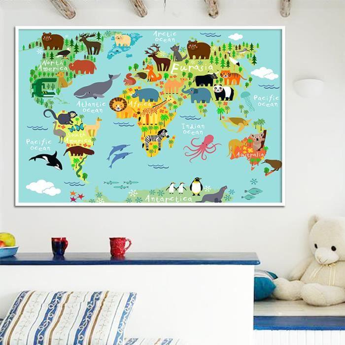 Nordic Enfants Kawaii Cartoon Animaux Carte Du Monde Toile Imprimer Poster Peinture Pour Enfants Chambre Sans Cadre Sans Etirement Achat Vente Tableau Toile Cdiscount