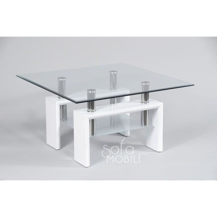 Table basse carr e en verre noir laqu ou blanc laqu design wilma blanc ac - Table basse design carree ...