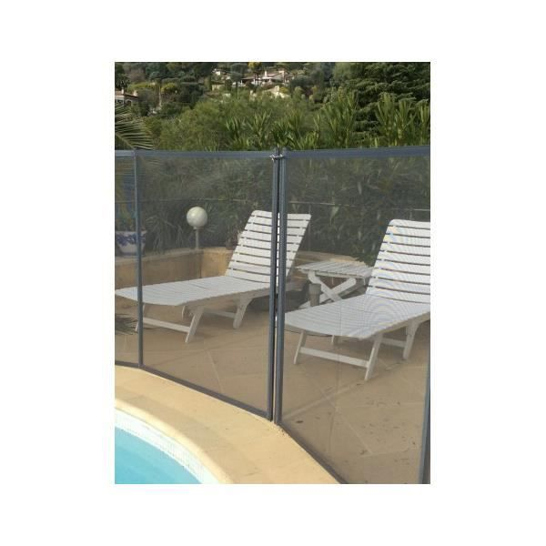 Barriere de piscine beethoven prestige grise avec piquets for Barriere piscine souple