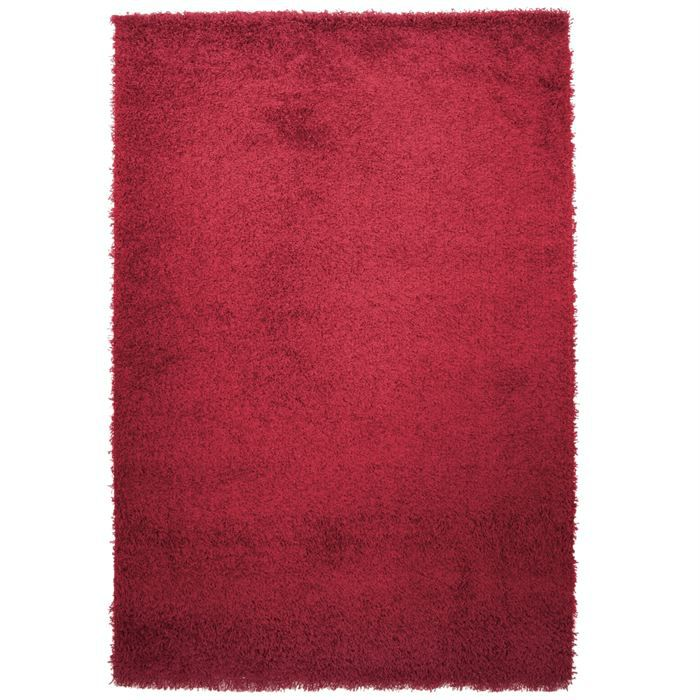 tapis shaggy longue m che rouge 135x190cm achat vente tapis soldes cdiscount. Black Bedroom Furniture Sets. Home Design Ideas