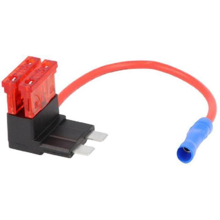 apres contact ADNAuto ideal rajout Porte-Fusible Multiprise 2 Fusibles 10A 1mm2 rouge