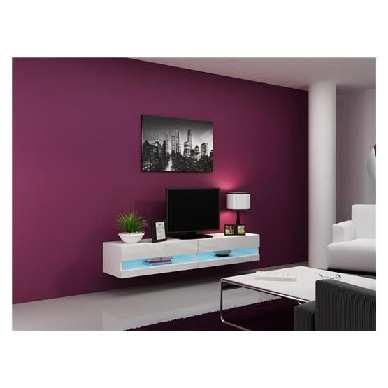 meuble tv design suspendu larmo new blanc achat vente meuble tv meuble tv larmo bl soldes. Black Bedroom Furniture Sets. Home Design Ideas