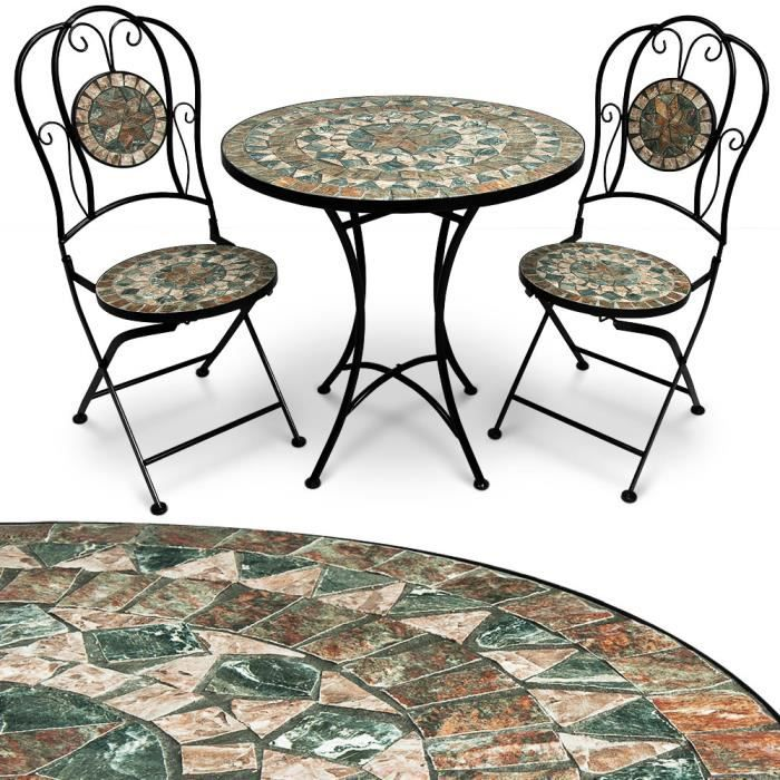 Salon de jardin mosaique Malaga ensemble table et chaises design ...