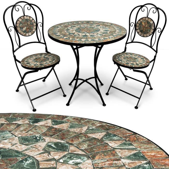 Salon de jardin ORIENTAL en mosaique neuf 1 table et 2 ...