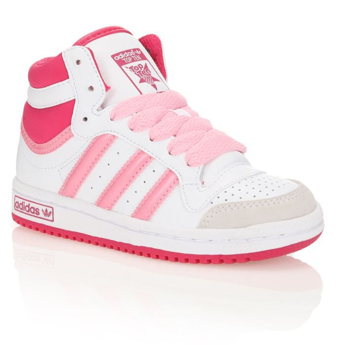 adidas baskets cuir top ten hi k enfant blanc rose. Black Bedroom Furniture Sets. Home Design Ideas