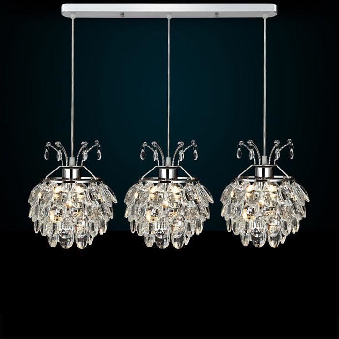 suspension led cristal 3 ampoules style europ en moderne multicolore achat vente suspension. Black Bedroom Furniture Sets. Home Design Ideas