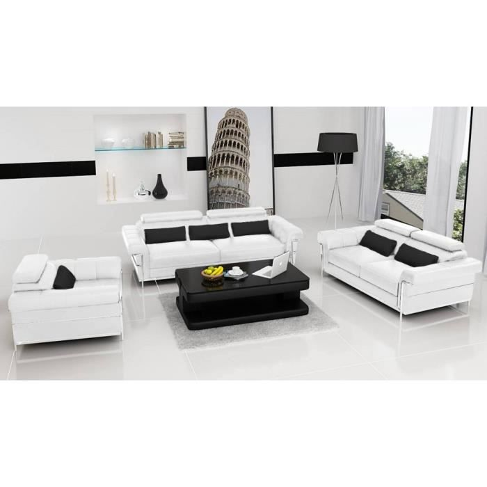 salon complet design romantica blanc cuir pvc achat. Black Bedroom Furniture Sets. Home Design Ideas