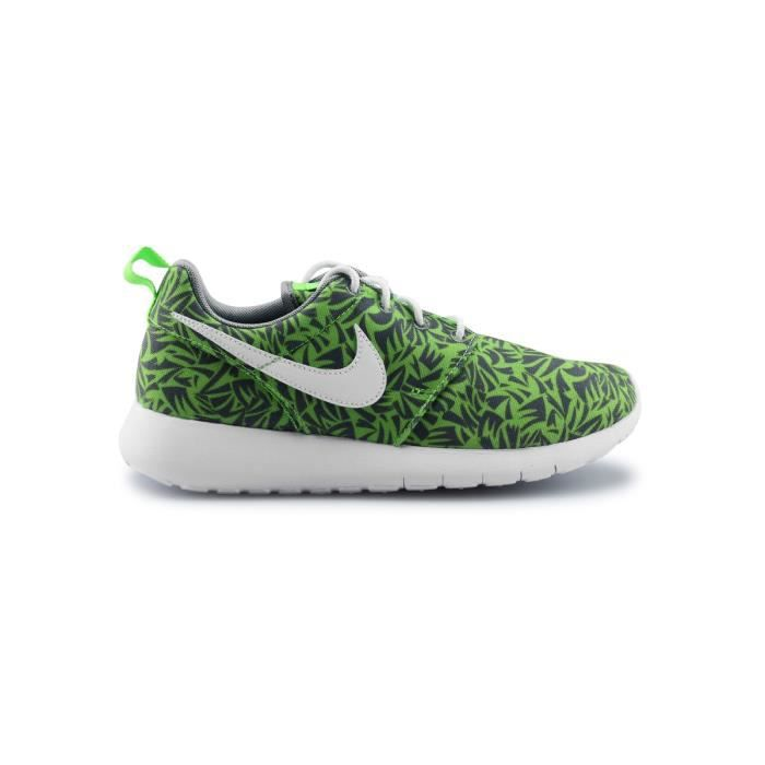 best service 23f0a b4124 Basket Nike Roshe One Print Junior Vert 677782-009